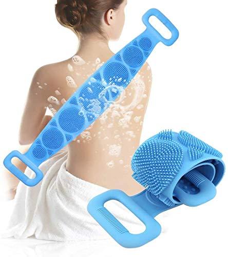 Körperbürste silikon,Silicone bath body brush,Doppelseitiger Silikon-Rückenwäscher,Silikon Body Körperbürste,Für Dusche und Badewanne zum Entfernen Abgestorbener Haut,(Blau)