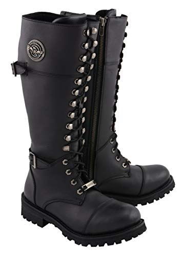 Milwaukee Leather MBL9390 Womens Black 16 inch Lace-Up Front Cap Toe Riding Boots - 8