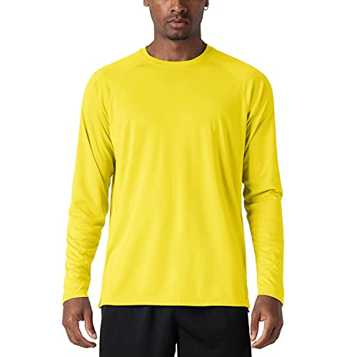 KEFITEVD Camiseta Casual de Manga Larga para Hombre Primavera Verano Camisetas Ligeras y Cómodas, Amarillo, XL