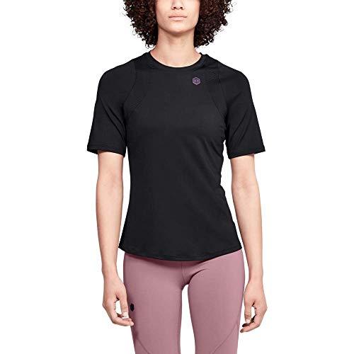 Under Armour Rush Camiseta Ajustada Transpirable con tecnología Rush, Camiseta de Manga Corta de Corte Ajustado, Mujer, Negro, SM