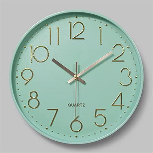 Reloj de pared moderno Cuarzo Reloj de pared silencioso, Digital 3D Gilding, Ice Green Dial, Decoración sala de estar dormitorio cocina oficina, hermosos regalos para niños (12 pulgadas) ( Color : G )