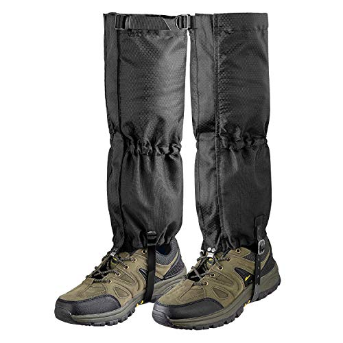 Unigear Leg Gaiters Waterproof Boot Gaiters with Zipper for Hiking Hunting Climbing Snowing for Men and Women (Black, X-Large)