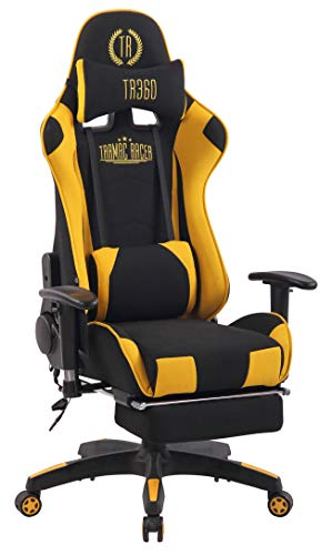 CLP Chefsessel Turbo XFM Stoff mit Massagefunktion l Höhenverstellbarer Bürostuhl mit ausziehbarer Fußablage und beheizbarem Sitzbereich, Farbe:schwarz/gelb