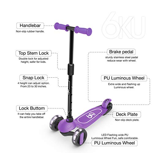 6KU 3 Wheels Kick Scooter for Kids and Toddlers Girls & Boys, Adjustable Height, Learn to Steer with Extra-Wide PU LED Flashing Wheels for Children from 2 to 5 Year-Old. (Purple)