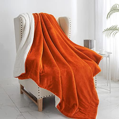"Walensee Sherpa Blanket (Throw Size 60""x80"" Orange) Super Soft Fleece Plush Blankets for Bed,..."