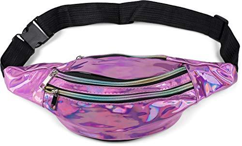 styleBREAKER riñonera Femenina con Aspecto metálico Iridiscente, Correa Ajustable, Bolsa para el cinturón, Bolsillo en la Cadera 02012323, Color:Rosa metálico