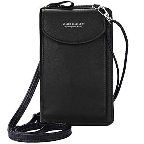 ZhengYue kleine Crossbody Tasche Handy - Tasche Brieftasche mit Credit Card Slots für Frauen Schwarz