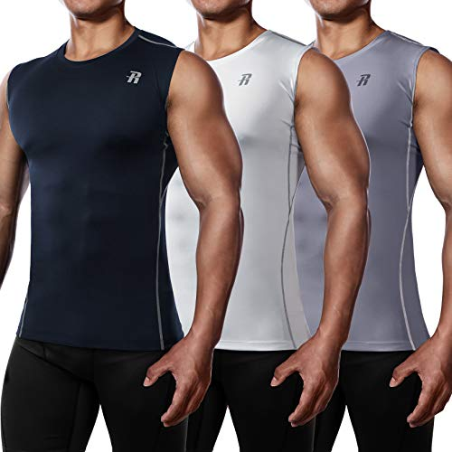 Runhit 3 Pack Sleeveless Compression Shirts for Men Athletic Workout Sports Sleeveless Compression Tank Top Men