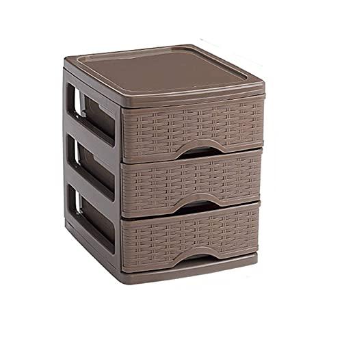 Plastic Forte - Cajonera 'turia' imitación mimbre 3 cajones de color topo de 17 x 13,5 x 17 cm, Cajonera plástico 3 cajones para mesa multiusos para almacenamiento y organización ideal para oficina.
