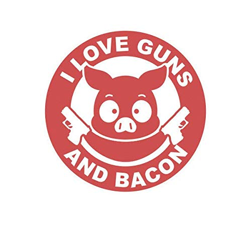 ION Graphics I Love Guns and Bacon Sticker Decal Vinyl 2a Gun Rights Humor Pig 5' Bumper Locker Laptop Window - Sticks to Any Surface