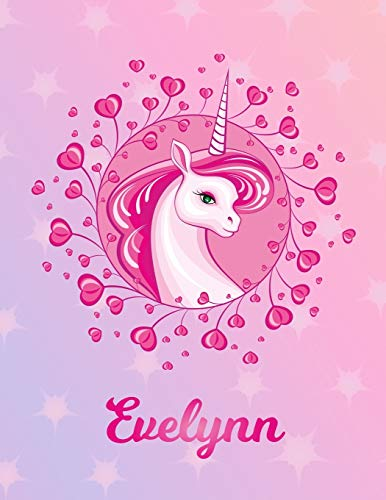 Evelynn: Unicorn Sheet Music Note Manuscript Notebook Paper | Magical Horse Personalized Letter A Initial Custom First Name Cover | Musician Composer ... Notepad Notation Guide | Compose Write Songs