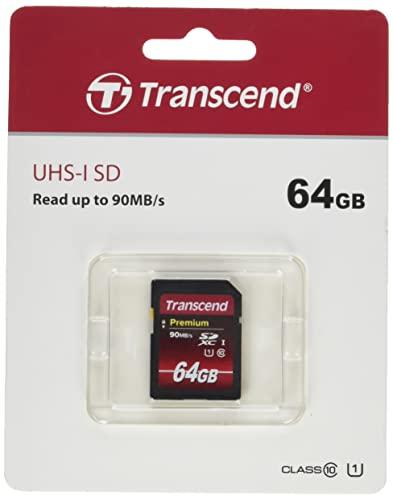 Tarjeta de memoria SDXC de 64 GB de Transcend, Clase 10, UHS-I, velocidad de transferencia de 90 MB / s (máx.)