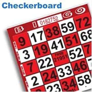 1 on Red Checkerboard Bingo Pattern Paper Game Cards- Pack of 500
