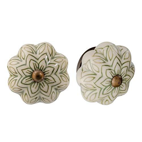 Nicola Spring Pomello per cassetto - in Ceramica con Design Vintage Floreale - Verde Oliva - 6 Pezzi