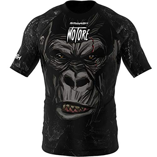 SMMASH Wotore Gorilla Rashguard Hombre Manga Corta, Camisetas Hombre para MMA, Artes Marciales, Krav Maga, BJJ, K1, Karate, Material Transpirable y Antibacteriano, (XXXL)