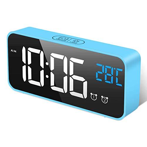 HOMVILLA Reloj Despertador Digital con Pantalla LED de Temperatura, Alarma de Espejo Portátil con Alarma Doble Tiempo de Repetición 4 Niveles de Brillo Regulable Dimmer 13 Música Puerto de Carga USB
