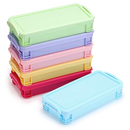BTSKY 6 Colors Large Capacity Pencil Box Stackable Colorful Office Supplies Storage Organizer Box Brush Painting Pencils Storage Box Watercolor Pen Container Drawing Tools