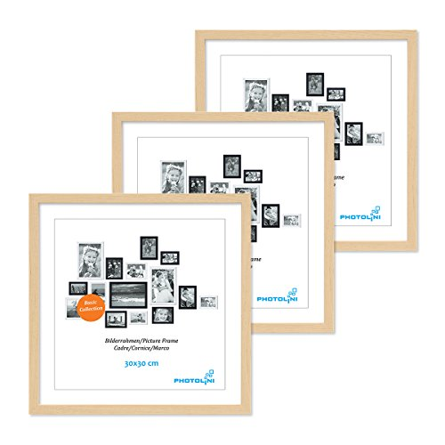 PHOTOLINI 3er Set Poster-Bilderrahmen 30x30 cm Modern Natur aus MDF mit Acrylglas/Posterrahmen/Wechselrahmen