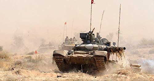 ZGNH DIY Digital Pintura,Adultos niños y Principiantes Pintura por número Kit(Lona sin Marco) 16 * 20 Pulgadas Decoración del Hogar Regalo - Tanque del ejército Indio T-90