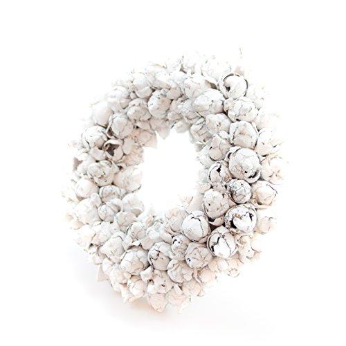 COURONNE Naturkranz Deko Ø35cm in weiß, gefertigt aus Kokos-Früchten | Türkranz ganzjährig zum hängen oder als Tischdekoration im Shabby chic Design | Zeitloses Wohnaccessoir als Landhaus Natur-Deko