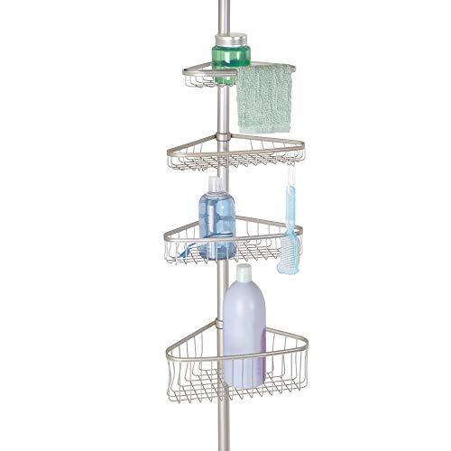 InterDesign York Teleskop Duschregal   mit Handtuchhalter und Haken   hochwertige Duschablage ohne Bohren   vierfacher Duschkorb für mehr Stauraum   Metall mit Satin-Finish