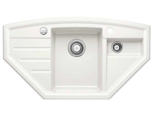 Blanco Prion 9 E Kristallweiß Auflage Keramik-Eckspüle mit Exzenterbetätigung Einbau Küchen-Spüle