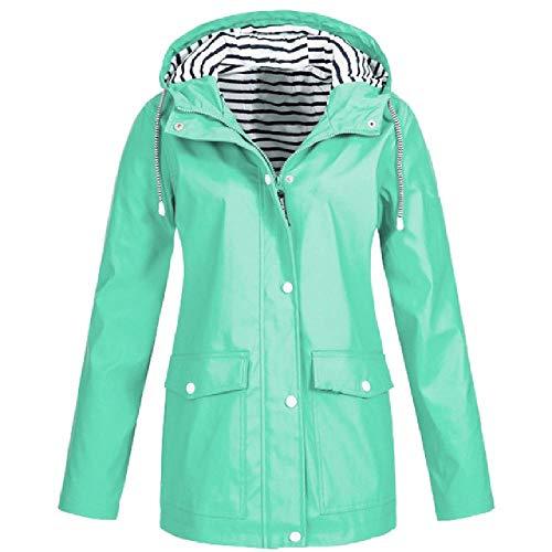 Modischer solider Mantel für Frauen, Regenmantel, verdickt, wasserdicht, winddicht, Mantel, Frauen, Trenchcoat, Workout, Camping, Hoodies, warme Regenbekleidung Gr. Large, mintgrün