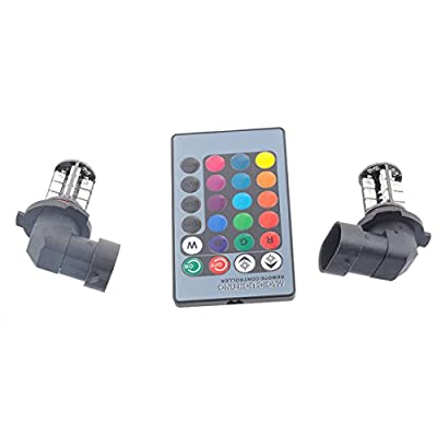 Sepbear 27SMD multi-color RGB 5050 H11 H8 1156 3156 7440 H7 9006 9005 LED Replacement fog lights reversing lights with remote