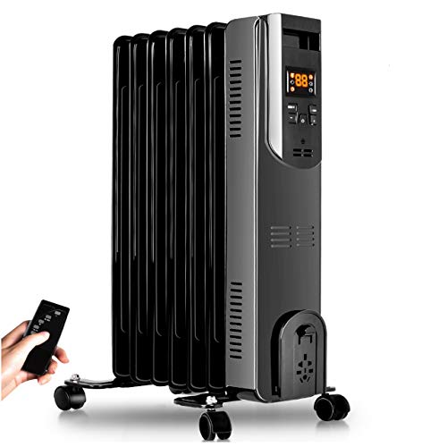 Best Review Of Electric Radiator Heater - 1500W Oil Space Heater with Remote, Allergy-Friendly, No N...