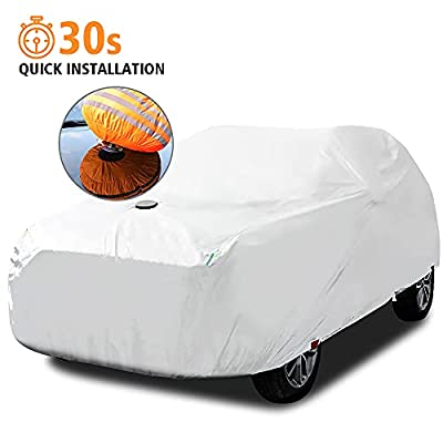 Car Cover Waterproof All Weather Quick Installation for Automobiles Outdoor Full Cover with Zipper Hail Snow Sun UV Rain Protection (YXL for SUV up to 215