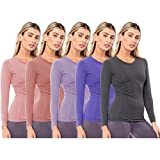 Sexy Basics Women's 5 Pack Casual & Active Basic Cotton Stretch Long Sleeve Round Crew Neck Athletic T-Shirt Tops (5 Pack- Pastels, XXX-Large)