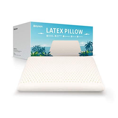 Baytion Almohada Látex, Almohada Cervical con Bolsa de Almacenamiento, Almohada para Auien Duerme de Lado y De Espaldas [Látex 100% Natural] [Transpirabilidad] [Alta Elasticidad] (60 * 40cm)