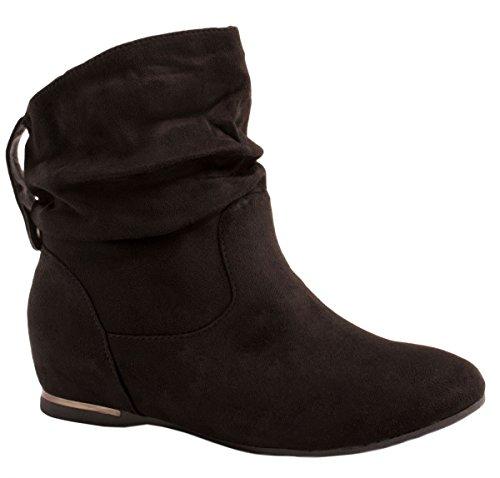 Elara Damen Stiefeletten Boots Keilabsatz Chunkyrayan AB02-25 Black-38