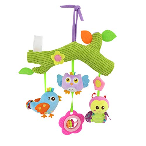 Baby Car Seat Stroller Toys, Baby Rattle Plush Teether Carriage Hanging Bell Toy Doll, Baby Comfort Plush Doll Crib Toy