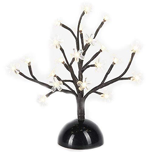 Preisvergleich Produktbild Nrpfell KirschblüTe Schreibtisch Bonsai Baum Licht 0, 36 M / 14 Zoll 20 LEDs Kirsch BlüTe Baum Tisch Lampe Schwarze Zweige Batterie Betrieben für Weihnachtsfeier Hochzeit Buero Haus, Warmwei