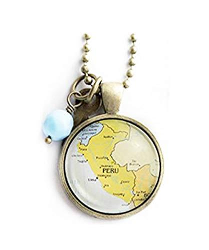 Elfhaus Karte von Peru, Südamerika-Schmuck, Reise-Halskette, Kuppel-Glasschmuck, reine Handarbeit