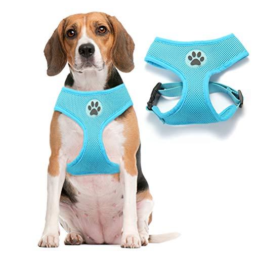 BINGPET Soft Mesh Dog Harness Pet Walking Vest Puppy Padded Harnesses Adjustable, Blue Medium