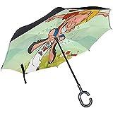 Elxf Paraguas invertido Diseñador para el día del Padre Paraguas inverso de Doble Capa de Dibujos Animados para automóvil y Uso en Exteriores con protección UV a Prueba de Viento con