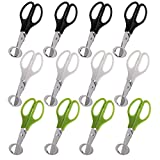 Yarlung 12 Pack Stainless Steel Quail Egg Scissors, Pigeon Egg Cutter Opener Kitchen Cracker Shears Tool, 3 Colors