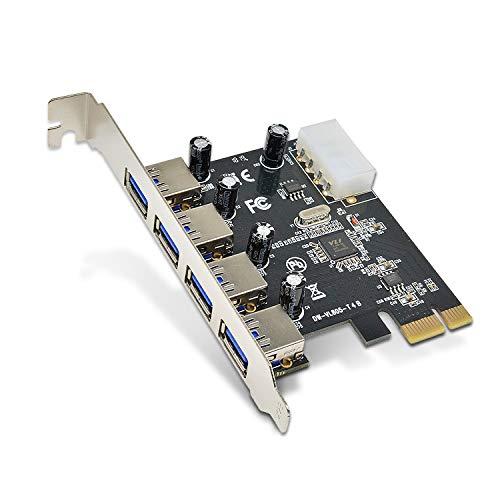 DiyStudio USB 3.0 拡張カード増設ボード 4ポートUSB3.0 PCI-E PCIE Expressジャックx16 x8 x4 x1対応 大4P電源コネクタUSBアダプタ、ロープロファイルブラケットを含まない USB3.0増設ボード 転送速度最大5Gbps 低発熱、高速、安定動作 Windows XP/Vista/7/8/8.1/10 (32/64 bit) 対応OS、ホワイトリストに登録されたマザーボードを搭載したいくつかのブランドのマシンでは認識されない