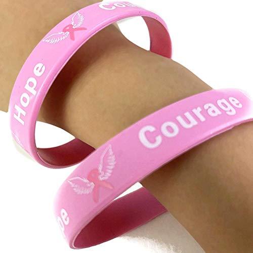 QQW Kämpfer Brustkrebs Awareness Ribbon Survival Silikon Armband-Bl4803Pk_China