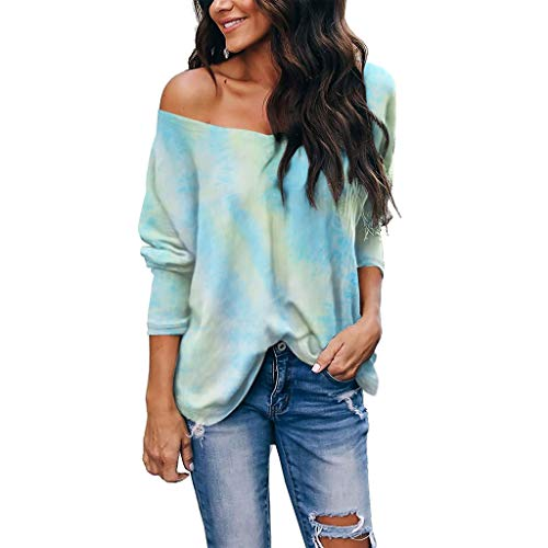 Find Discount Toimothcn Women's Off Shoulder Shirts Tops Tie-Dye V Neck Long Sleeve Loose Henly Tuni...