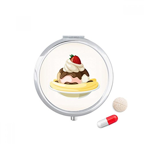 DIYthinker Aardbei Banaan Sweet Ice Cream Travel Pocket Pill Case Medicine Drug Opbergdoos Dispenser Spiegel Gift