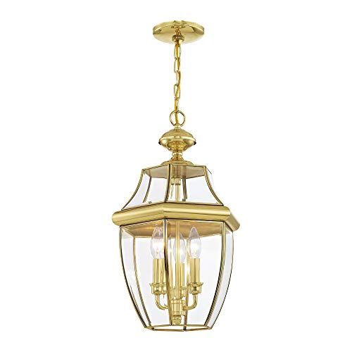 Livex Lighting 2355-02 Monterey 3-Light Outdoor Hanging Lantern, Polished Brass