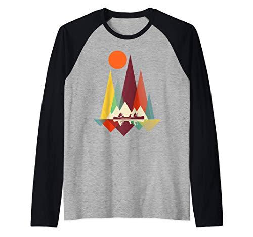 Geometría de montaña mínima Senderismo al aire libre Camping Camiseta Manga Raglan