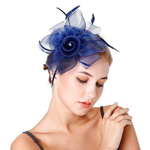 Onefeart Mesh Haarschmuck Clips für Frauen Mesh Blume Gestalten Feder Design Party Kopfschmuck Hochzeit Haarband Navy Blau