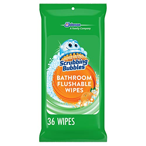 Scrubbing Bubbles Antibacterial Bathroom Flushable Wipes, Flushable and Resealable Cleaning Wipes, 38 Wipes (6 Packs)