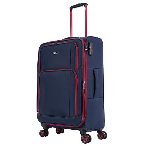 DUKAP Steam 24 Inch Softside Spinner Medium Luggage with Ergonomic GEL Handle, Travel Suitcase with TSA Combination Lock, Blue