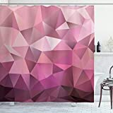 Ambesonne Abstract Shower Curtain, Triangle Style Entertainment Geometric Shapes Monochromic Illustration, Cloth Fabric Bathroom Decor Set with Hooks, 70' Long, Rose Pink