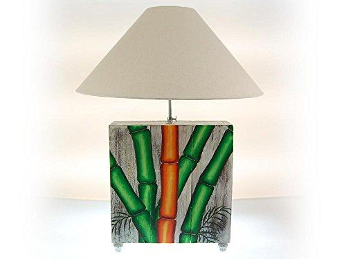 SEESTERN handbeschilderde tafellamp bamboe motief houten lamp variabele 60-70 cm hoog/1640